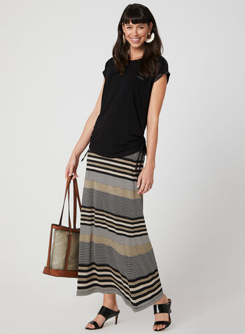 Stripe Print Maxi Skirt, Black, hi-res,  jersey, pull-on, elasticized, spring 2019, summer 2019