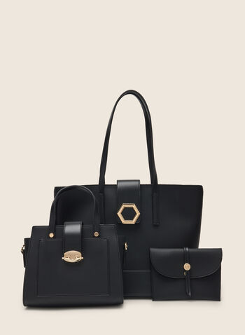 3 Piece Set Of Vegan Leather Handbags, Black,  handbags, bags, purse, satchel, clutch, tote, metallic, vegan leather, spring 2020, summer 2020