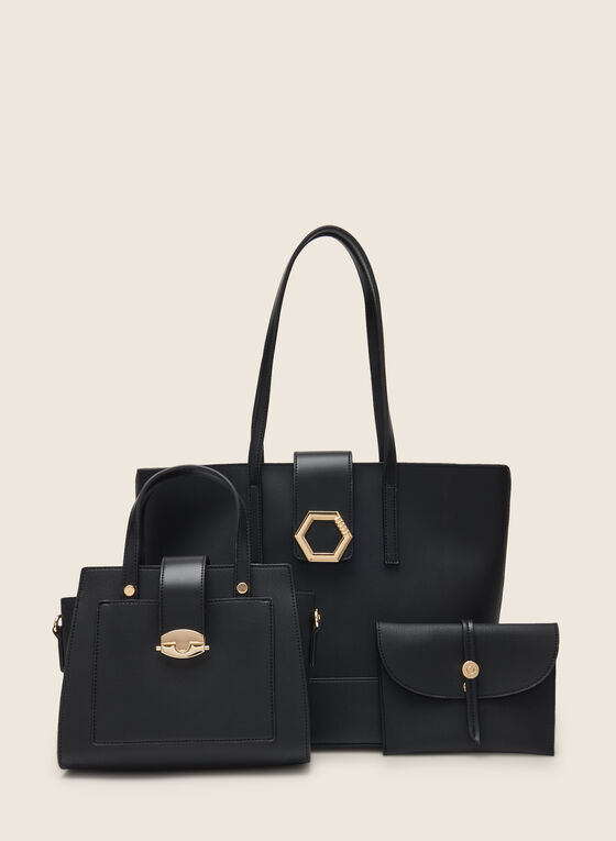 3 Piece Set Of Vegan Leather Handbags, Black