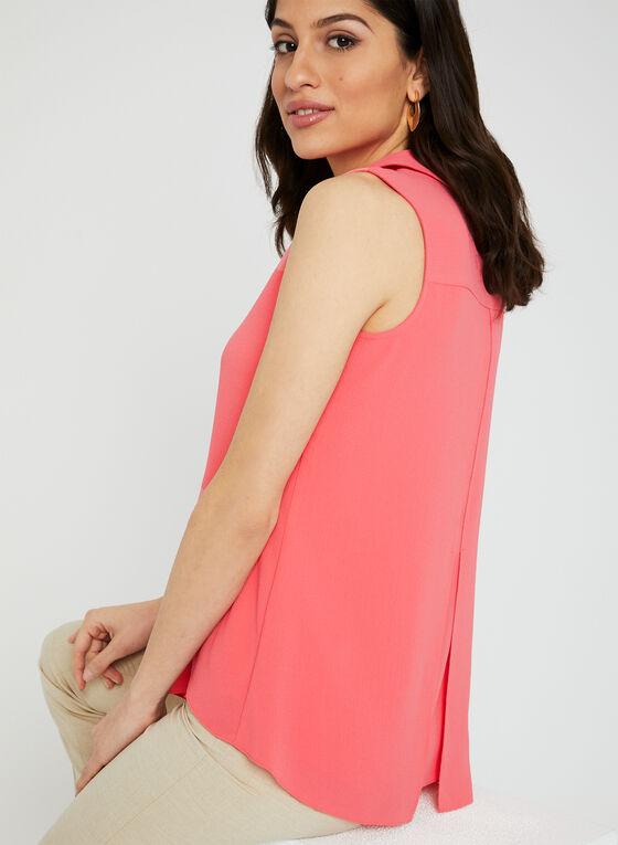 Sleeveless Button Up Blouse, Orange