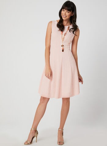 Sleeveless Fit & Flare Dress, Pink, hi-res,  day dress, sleeveless, fit and flare, jacquard, paneled, spring 2019, summer 2019
