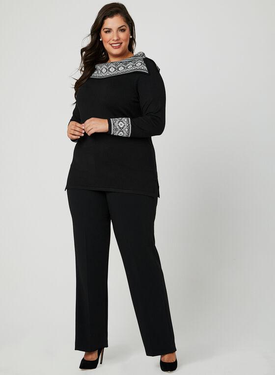 Pull tunique avec détails en jacquard, Noir, hi-res