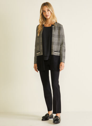 Houndstooth Tartan Print Cardigan, Black,  cardigan, houndstooth, tartan, long sleeves, round collar, knit, fall winter 2020