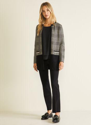 Cardigan motif chevrons et ourlet contrastant, Noir,  cardigan, chevrons, manches longues, contrastant, automne hiver 2020
