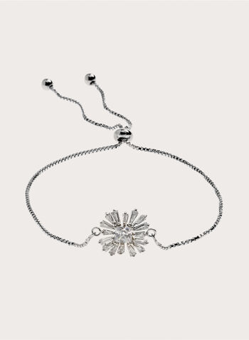 Box Chain Crystal Starburst Slider Bracelet, Silver, hi-res