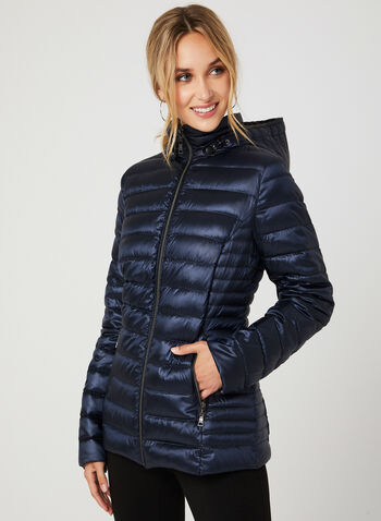 Lightweight Packable Down Coat, Blue, hi-res