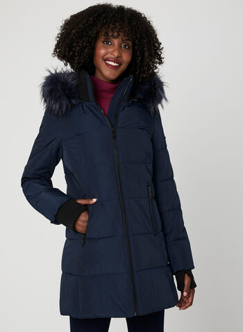 Novelti – Reflective Quilted Coat, Blue, hi-res