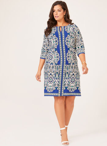 Paisley Puff Print Shift Dress, Blue, hi-res