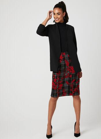 Floral Plaid Print Knit Skirt, Black, hi-res