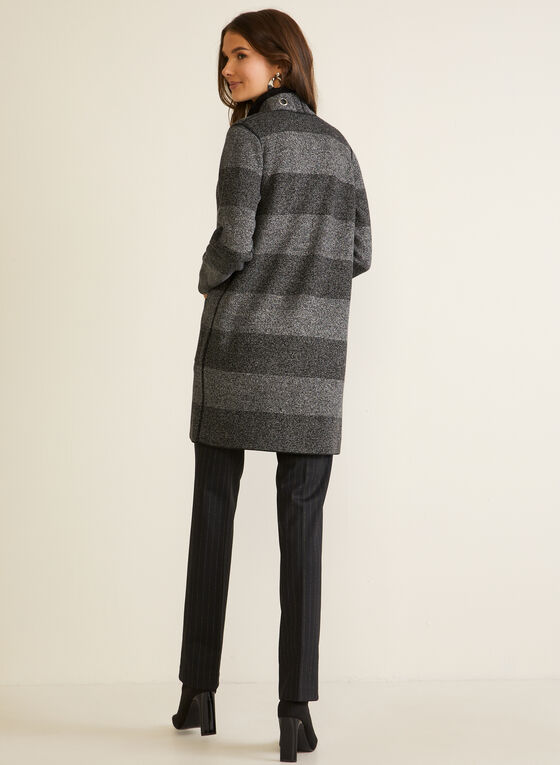 Eyelet Detail Striped Cardigan, Grey