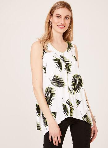 Débardeur imprimé feuilles de palmier et ourlet asymétrique, Blanc, hi-res