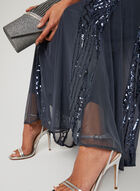Sequin Embellished Mesh Dress, Grey, hi-res