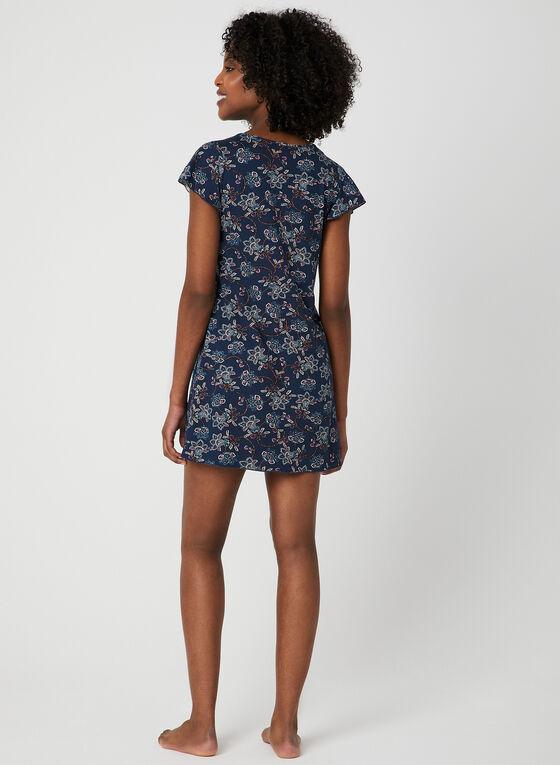 Chemise de nuit motif floral, Bleu, hi-res