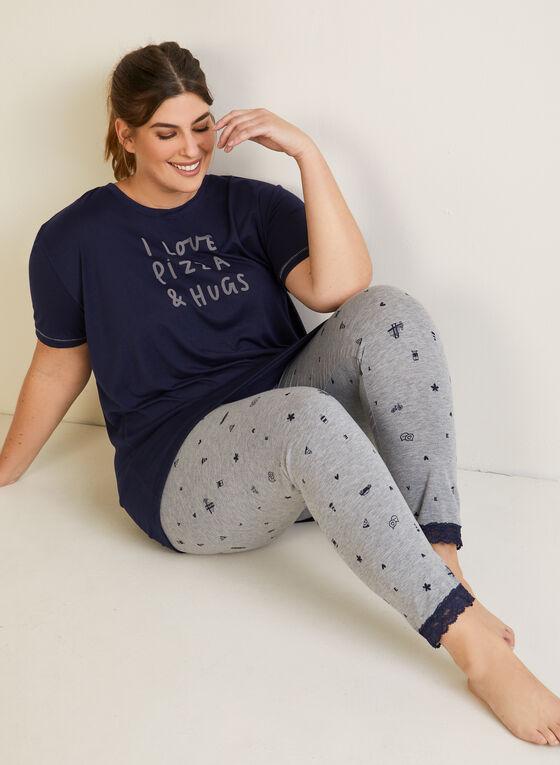 Ensemble pyjama à ourlet de dentelle, Gris