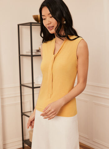 Sleeveless Tie Neck Blouse, Yellow,  top, sleeveless, tie neck, jersey, spring summer 2020