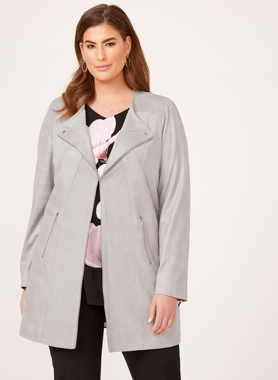 Vex - Cascade Front Faux Leather Jacket, Grey, hi-res
