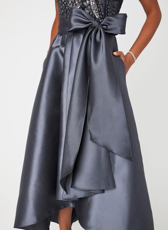Robe de soirée en taffetas et sequins , Gris, hi-res