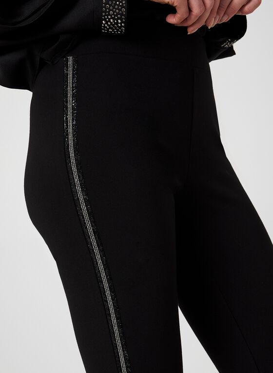 Pantalon coupe cité à bandes scintillantes, Noir
