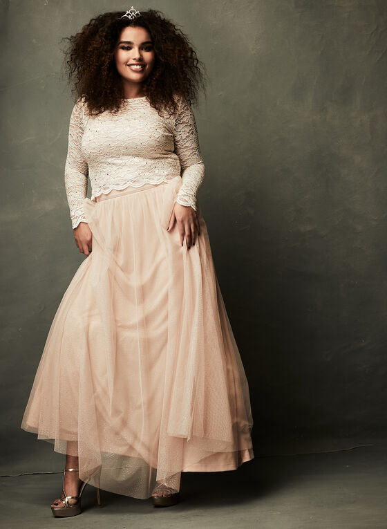 Two Piece Glitter Tulle Dress  , Pink