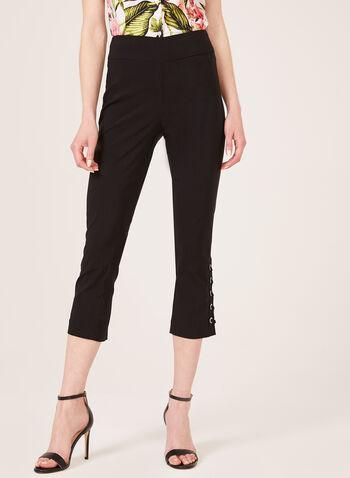 Crystal Grommet Detail Capri Pants, Black, hi-res