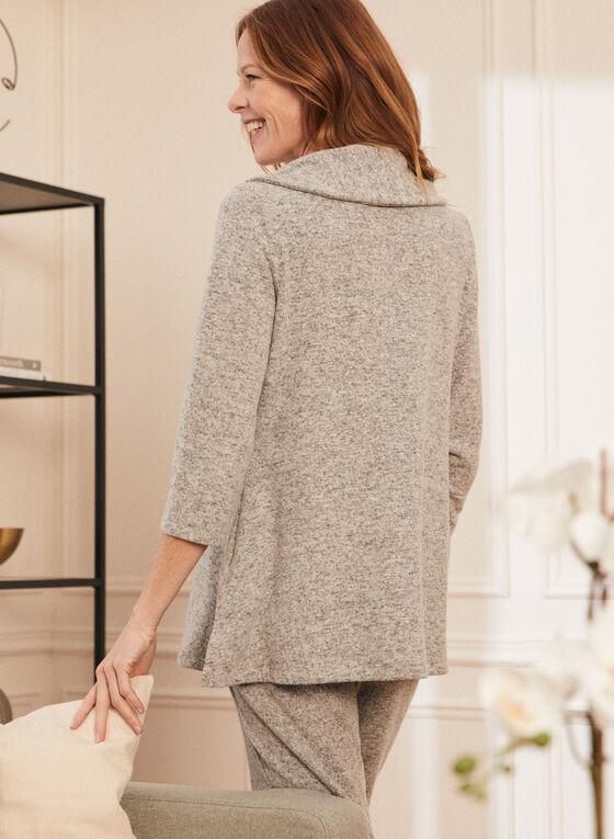 Drawstring Collar Sweater Knit Tunic, Grey