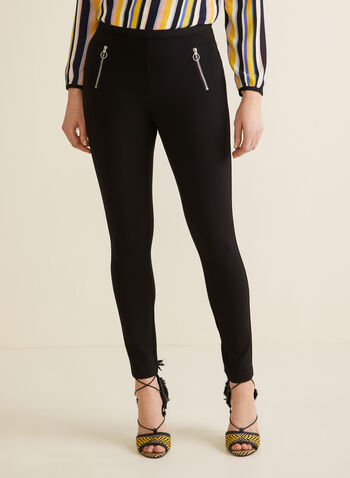City Fit Zipper Detail Leggings, Black,  leggings, pants, city fit, pull on, zipper, elastic, spring summer 2020