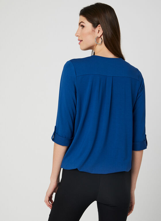 ¾ Sleeve Faux Button Top, Blue, hi-res