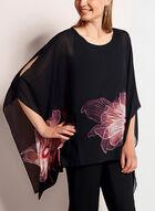 Floral Print Chiffon Poncho Blouse, Black, hi-res