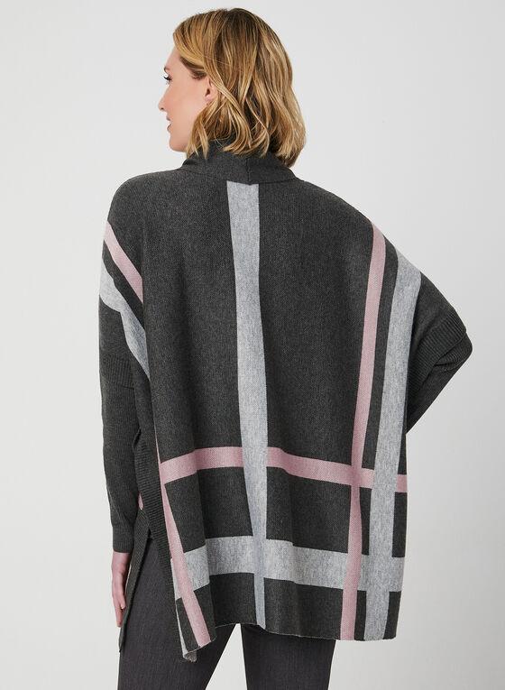 Cowl Neck Poncho Sweater, Grey, hi-res
