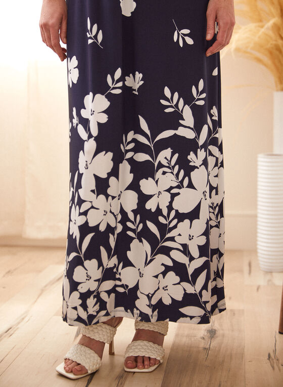 Robe maxi fleurie à détail torsadé, Bleu
