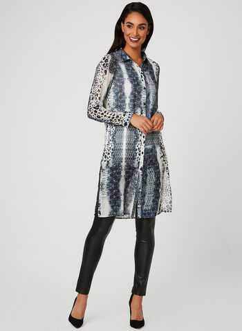 Animal Print Tunic Blouse, Grey, hi-res