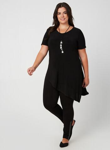 Asymmetric Jersey Tunic, Black, hi-res,  jersey fabric, short sleeves, top, tunic, v-neck