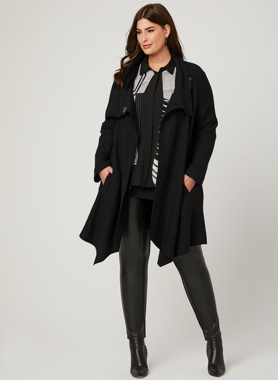 Light Wool Blend Coat, Black, hi-res