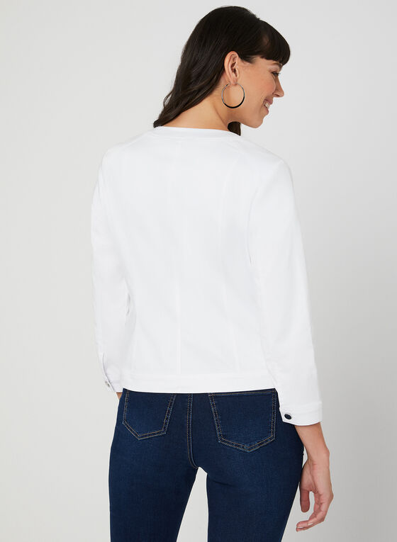 Cotton Blend Jacket, White, hi-res