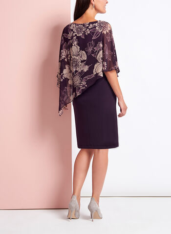 Floral Print Asymmetric Poncho Dress, , hi-res