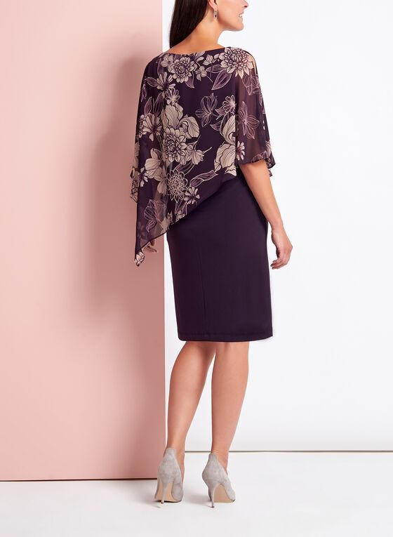 Robe à poncho asymétrique fleuri, Violet, hi-res