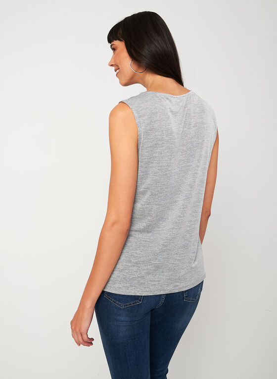 Textured Sleeveless Blouse, Grey