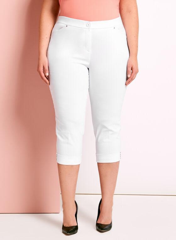 Signature Fit Embellished Capri Pants, White, hi-res