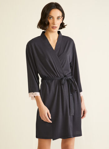 Lace Trim Robe, Grey,  fall winter 2020, robe, lace, pyjama
