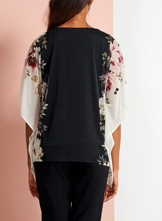 Blouse poncho fleurie en maille, Noir, hi-res