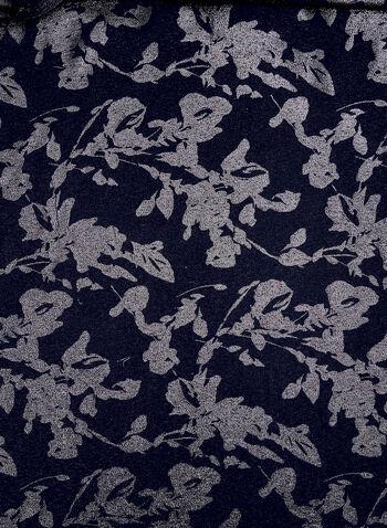 Foulard métallique à imprimé floral, Bleu, hi-res