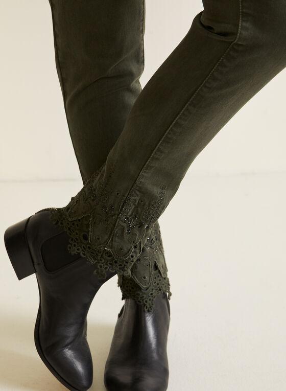 Jeans taille haute à ourlet ornementé, Vert