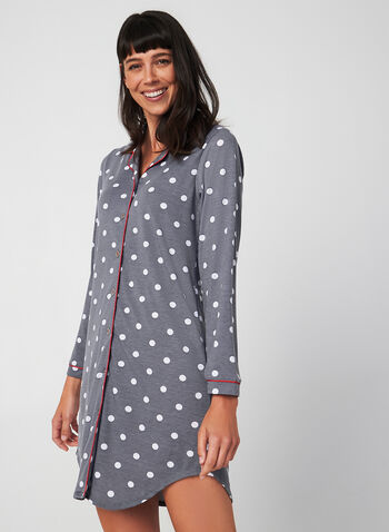 Comfort & Co. - Long Sleeve Nightshirt, Grey, hi-res,  Comfort & Co., sleepwear, nightgown, nightshirt, pyjama, long sleeves, fall 2019, winter 2019
