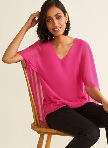 Blouse avec cape en mousseline, Rose,  printemps été 2020, blouse, haut, blouse poncho, poncho, cape, mousseline, crêpe, jersey, encolure en V