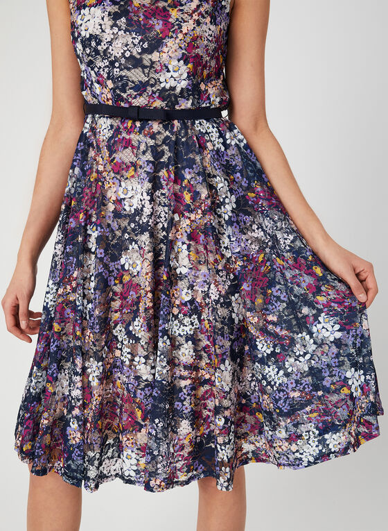 Lace Fit & Flare Dress, Purple, hi-res