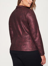Open Front Scuba Knit Jacket, Red, hi-res