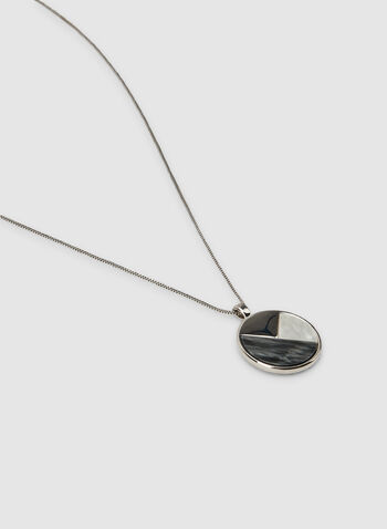 Round Pendant Chain Necklace, Grey,  chain necklace
