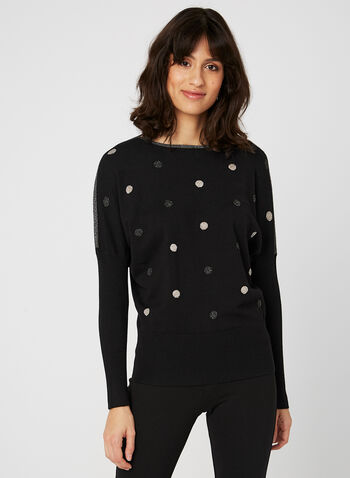 Vex - Polka Dot Print Top, Black, hi-res