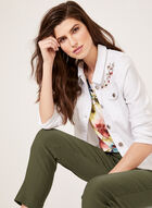 Floral Embroidered Denim Jacket, White, hi-res