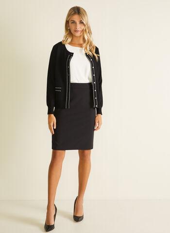 Cardigan boutonné à détails contrastants, Noir,  cardigan, manches longues, boutons, tricot, détails contrastants, automne hiver 2020